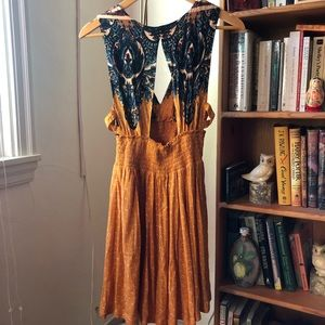 Free People Mustard Yellow Floral Dress